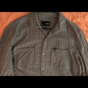 Hurley Grey Plaid Button Down Shirt